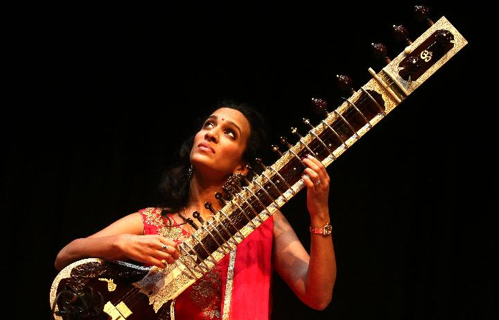 Indian sitar player Anoushka Shankar performs at FICCI auditorium