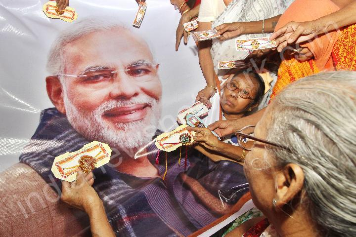 Varanasi widows offer Rakhis to Narendra Modi