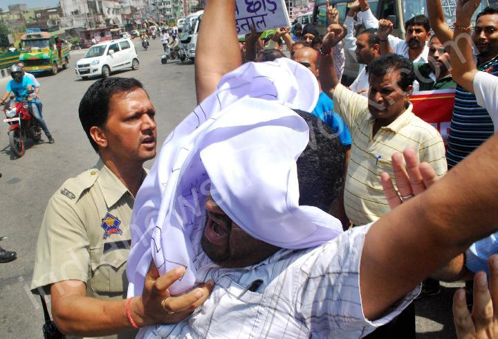 PHE employees protest against state govt in Jammu